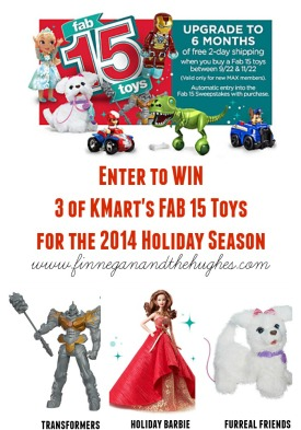 Enter to win 3 of KMarts FAB 15 Toys For The Holiday Season