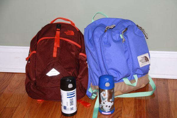 Backpacks and water bottles