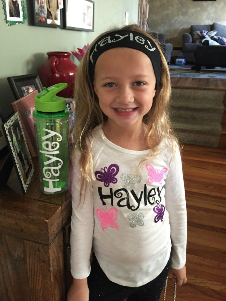 Hayley Monogramed Water botte, headband and shirt