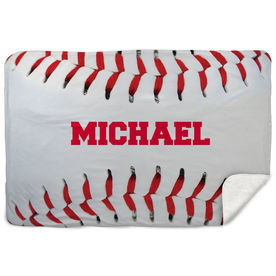 Baseball Sherpa Fleece Blanket Personalized Stiches