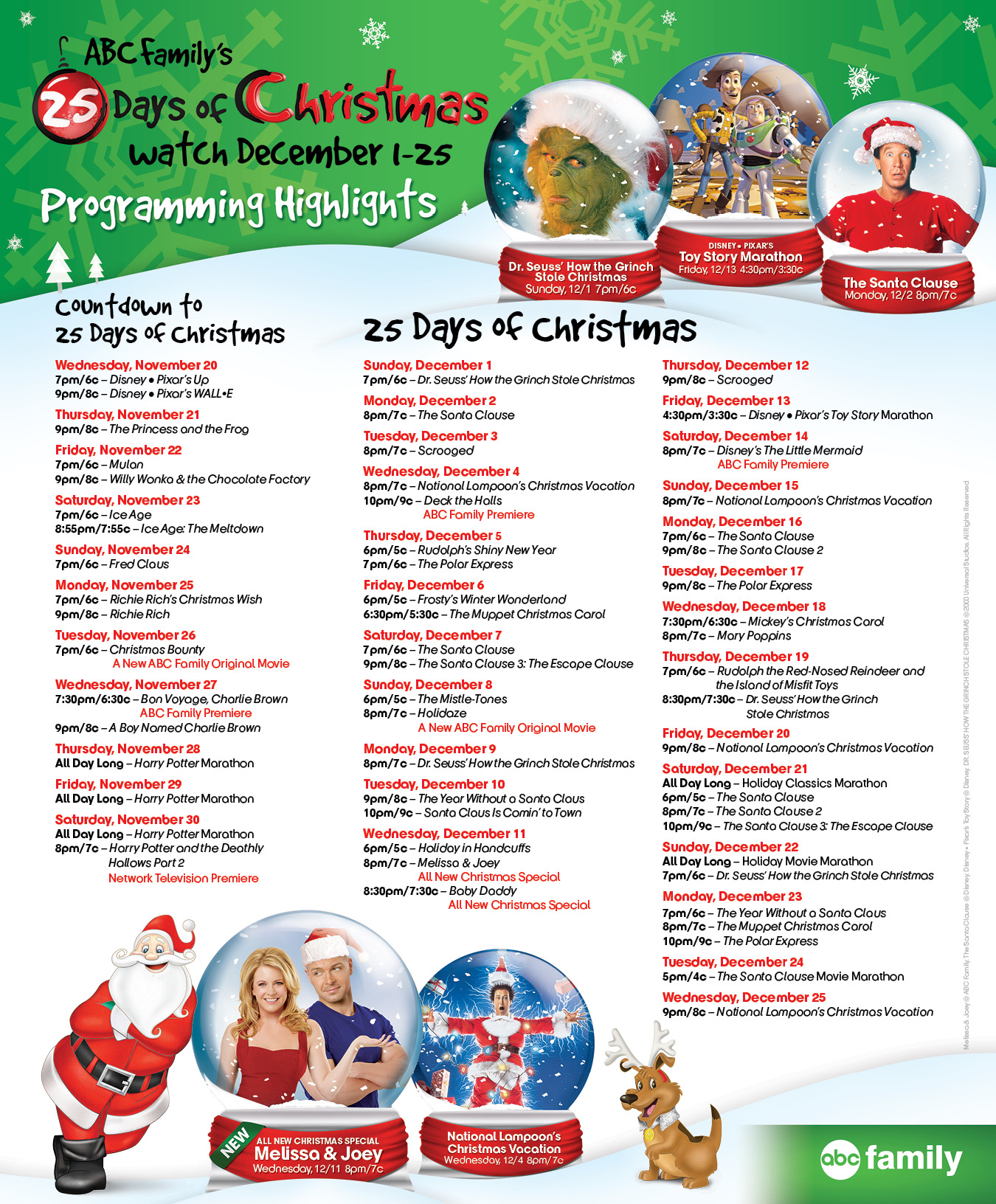 abc familys 25 days of christmas schedule finnegan and the hughes
