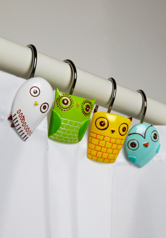 Owl Clean Shower Curtain Rings | Mod Retro Vintage Bath | ModCloth