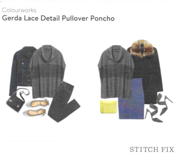 Colourworks Gerda Lace Detail Pullover Poncho Stitch Fix